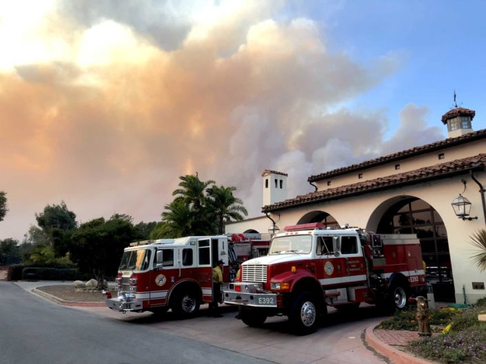 smokey sky Montecito firehouse with engines ready