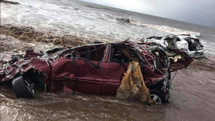 cars washed to ocean Mudslide and debris flow Montecito, CA
