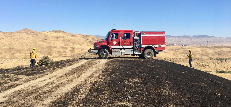 fire truck in desert